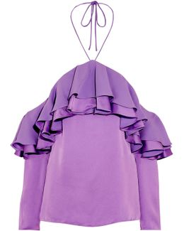 Off-the-shoulder Ruffled Satin And Crepe Blouse