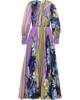 Printed Silk-chiffon Gown