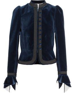 Grosgrain-trimmed Ruffled Cotton-velvet Jacket