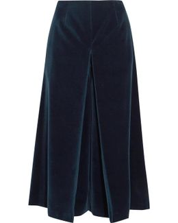 Pleated Cotton-velvet Culottes