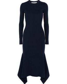Asymmetric Ribbed Wool Midi Dress