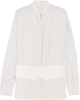 Crepe-paneled Striped Silk Crepe De Chine Shirt