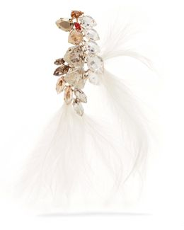 Gold-tone, Feather And Crystal Brooch