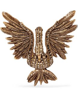 Antiqued Gold-tone Crystal Brooch