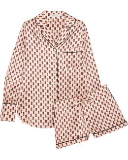 Alba Printed Silk-satin Pajama Set