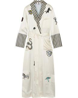 Capability Chelsea Appliquéd Striped Silk-satin Robe