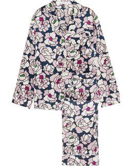 Lila Floral-print Silk-satin Pajama Set