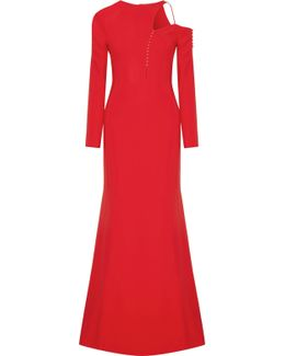 Cutout Embellished Stretch-cady Gown