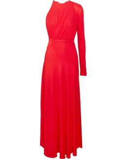 One-shoulder Crepe Midi Dress
