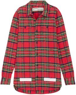 Frayed Printed Flocked Checked Cotton Shirt