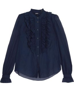 Strawberry Ruffled Cotton And Silk-blend Blouse