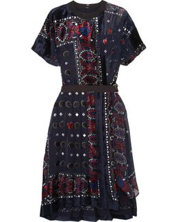 Asymmetric Belted Devoré Chiffon Dress