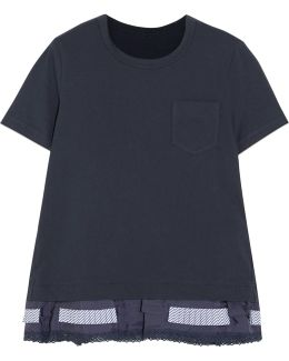 Lace, Poplin And Shell-trimmed Cotton-jersey T-shirt