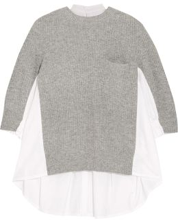 Ribbed Wool-blend And Plissé Poplin Sweater