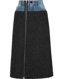 Denim-paneled Felted Wool Midi Skirt