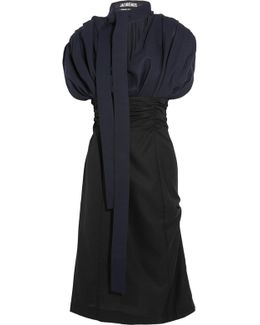 Madame Tie-neck Gathered Wool Midi Dress