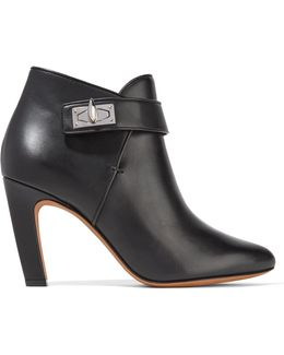 Shark Lock Leather Ankle Boots