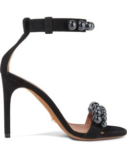 Classic Line Beaded Suede Sandals