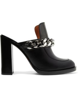 Chain-trimmed Leather Mules