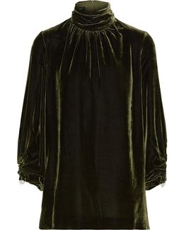 Wilma Faux Pearl-embellished Velvet Turtleneck Top