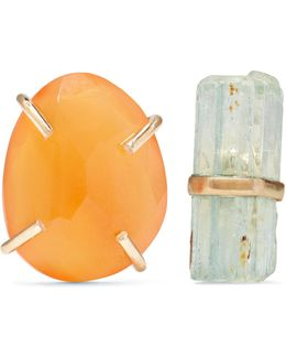 14-karat Gold, Carnelian And Aquamarine Earrings