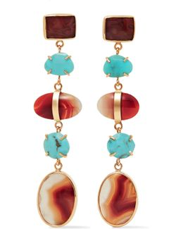 14-karat Gold, Turquoise And Agate Earrings