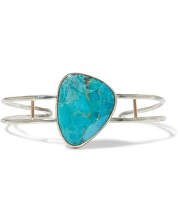 14-karat Gold, Sterling Silver And Turquoise Cuff