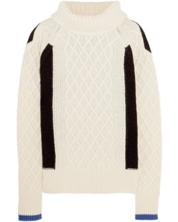 Ellise Color-block Cable-knit Wool-blend Turtleneck Sweater