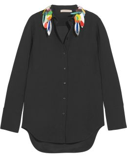 Embellished Crepe De Chine Shirt