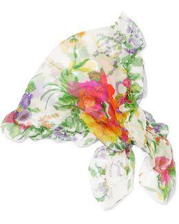 Ruffled Floral-print Silk-georgette Scarf