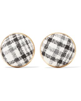 Gold-tone Checked Tweed Earrings