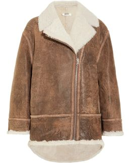 Oversized Shearling-lined Nubuck Coat
