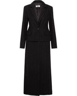 Striped Wool-blend Felt Coat