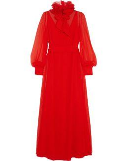 Appliquéd Silk-mousseline Gown
