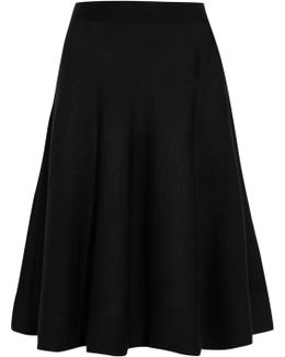 Stretch Wool-blend Midi Skirt