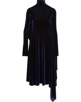 Asymmetric Open-back Velvet Midi Dress