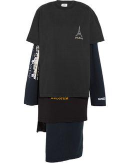 Layered Printed Cotton-jersey Dress