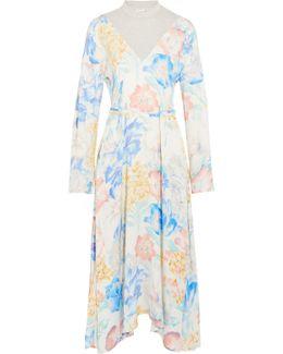 Floral-print Satin And Cotton-blend Jersey Midi Dress