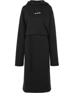 Hooded Embroidered Cotton-blend Jersey Midi Dress