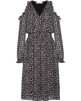 Cold-shoulder Printed Chiffon Midi Dress