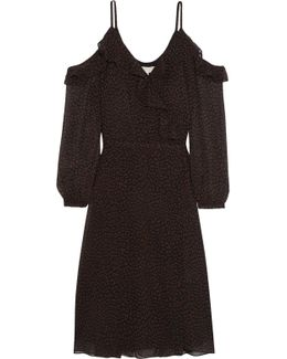Cold-shoulder Printed Chiffon Wrap Dress