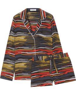 Lillian Printed Washed-silk Pajama Set