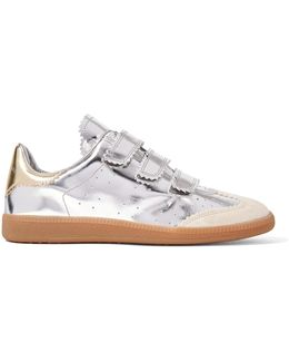 Beth Suede-trimmed Metallic Leather Sneakers