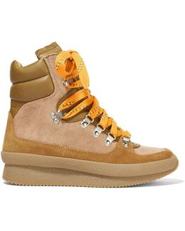 Brendty Leather-trimmed Suede And Canvas High-top Sneakers