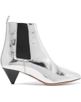 Dawell Metallic Leather Ankle Boots