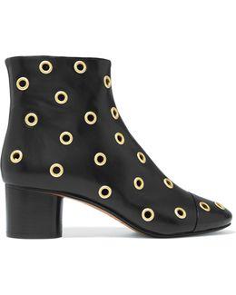 Danay Eyelet-embellished Leather Ankle Boots