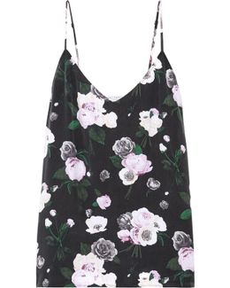 Layla Floral-print Washed-silk Camisole