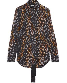 Essential Pussy-bow Leopard-print Silk-georgette Blouse