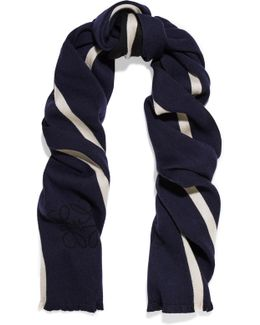 Anagram Reversible Striped Wool And Silk-blend Scarf