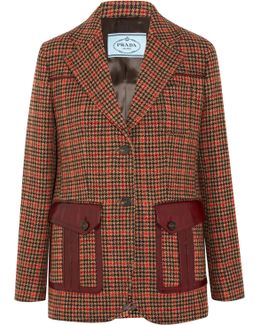 Leather-trimmed Checked Wool-blend Blazer
